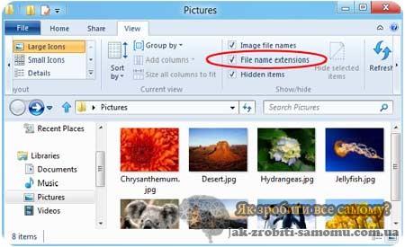 як відображається розширення файлів в ОС Windows8