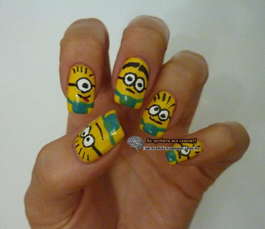 Як намалювати міньйонів на нігтях
