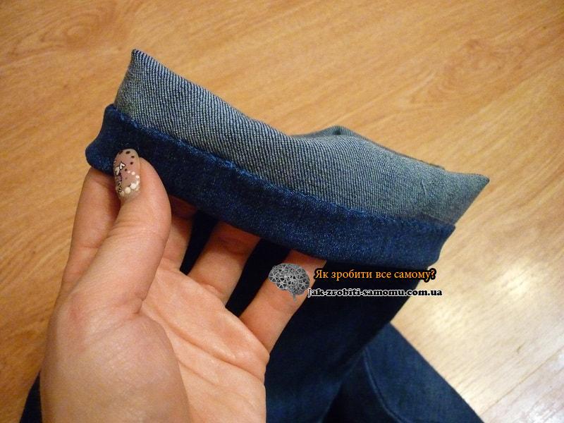 Как подшить джинсы вручную (8)