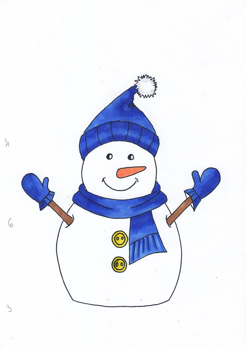 Як намалювати сніговика на Новий рік