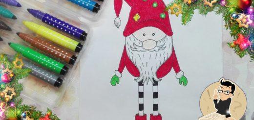 Как нарисовать новогоднего гнома карандашом поэтапно? Видео.