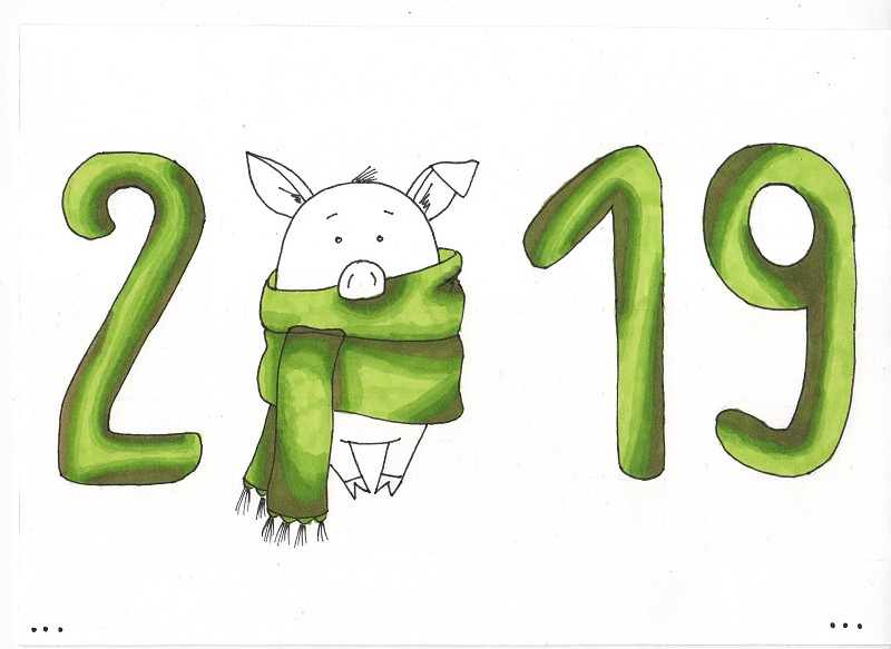 Как нарисовать свинью на Новый год